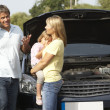 Family Broken Down On Country Road — Stock Photo