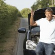 Stock Photo: Driver Broken Down On Country Road