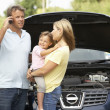 Stock Photo: Family Broken Down On Country Road