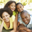 Foto Stock: Portrait of Happy Family Piled Up In Park