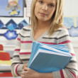 Portrait Of Female Teacher Sitting At Desk In Classroom — Foto Stock