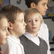 Stock Photo: Portrait Of Group Of Primary Schoolchildren Standing In Classroo