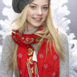 Fashionable Teenage Girl Wearing Cap And Knitwear In Studio In Front Of Chr - Foto de Stock