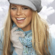 Fashionable Young Woman Wearing Cap And Knitwear In Studio — Stock Photo