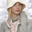 Fashionable Teenage Girl Wearing Cap And Knitwear In Studio In Front Of Chr — Stok fotoğraf