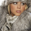 Studio Portrait Of Young Woman Wearing Fur Hat And Coat - Foto Stock
