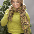 Royalty-Free Stock Photo: Fashionable Woman Wearing Knitwear And Scarf In Studio In Front Of Christma