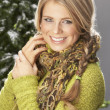Fashionable Woman Wearing Knitwear And Scarf In Studio In Front Of Christma — Stock Photo