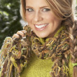 Fashionable Woman Wearing Knitwear And Scarf In Studio In Front Of Christma - 图库照片