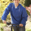 Portrait Of Young Man With Cycle In Autumn Park - Stock Photo