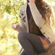 Portrait Of Beautiful Teenage Girl Outdoors In Autumn Landscape — Stock Photo