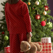 Oung Girl Standing With Teddy Bear In Front Of Christmas Tree - Stock Photo