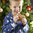 Boy eating cokie in front of christmas tree — Stock fotografie