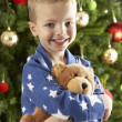 Boy with a teddy-bear in front of christmas tree — Stock Photo