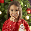 Young Girl Eating Star Shaped Christmas Cookie In Front Of Christmas Tree — Stok fotoğraf