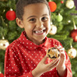 Young Boy Eating Cookie In Front Of Christmas Tree — Stok fotoğraf