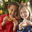 Stock Photo: Two Young Children Eating Christmas Treats In Front Of Christmas Tree