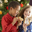 Two Young Children Eating Christmas Treats In Front Of Christmas Tree — Photo