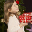 Young Girl Holding Christmas Present In Front Of Christmas Tree - Stok fotoraf