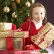 图库照片: Young Girl Holding Christmas Present In Front Of Christmas Tree
