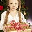 Young Girl Holding Christmas Present In Front Of Christmas Tree — Lizenzfreies Foto