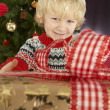 Young Boy Holding Gift In Front Of Christmas Tree — ストック写真