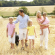 Family Walking Together Through Summer Harvested Field — Stock Photo #4841123