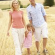 Family Walking Together Through Summer Harvested Field — Stock Photo