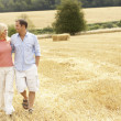 Couple Walking Together Through Summer Harvested Field — Photo