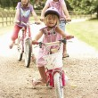 Children In Countryside Wearing Safety Helmets — Stock Photo