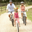 Family Cycling In Countryside Wearing Safety Helmets — Photo