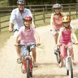 Family Cycling In Countryside Wearing Safety Helmets - Stock Photo