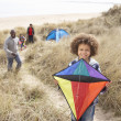 Family Having Fun With Kite In Sand Dunes — Stock Photo