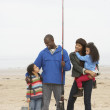 Family On Beach Fishing Trip — Stock Photo