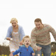 Family Having Egg And Spoon Race — Stock Photo
