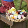 Basket Of Decorated Easter Eggs In basket — Stock Photo