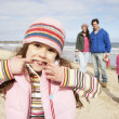 Family Walking Along Winter Beach — Stock Photo #4842006