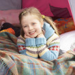 Young Girl Relaxing Inside Tent On Camping Holiday — Foto de Stock