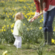 Mother And Daughter In Daffodil Field With Decorated Easter Eggs — Stock Photo #4842075
