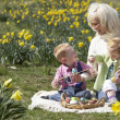 Mother And Children In Daffodil Field With Decorated Easter Eggs — Stock Photo