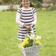 Stock Photo: Girl Holding Basket Of Daffodils In Garden