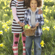 Stock Photo: Brother And Sister Having Easter Egg Hunt In Daffodil Field