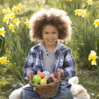 Stock Photo: Boy On Easter Egg Hunt In Daffodil Field