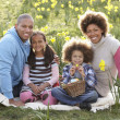 Family Relaxing In Field Of Spring Daffodils — Stock Photo