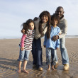 Family Walking On Winter Beach - Stock Photo