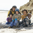 Black Family on a beach — Foto Stock