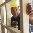 Construction Worker Building Timber Frame In New Home — Stock Photo #4842495