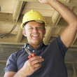Electrician Working On Wiring In New Home — Stock Photo #4842511