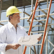 Architect Studying Plans Outside New Home — Foto Stock