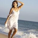 Young Woman Running Along Summer Beach — Stock Photo